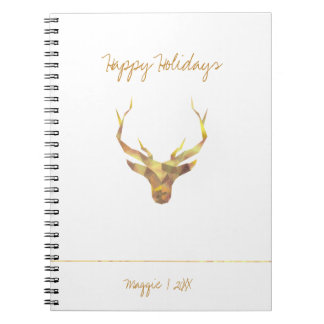 Modern Gold Deer, Holiday Spiral Note Book