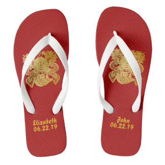 Modern Gold Double Happiness Wedding No. 23 Thongs