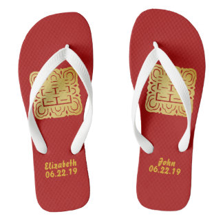 Modern Gold Double Happiness Wedding No. 45 Thongs