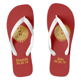 Modern Gold Double Happiness Wedding No. 4 Thongs