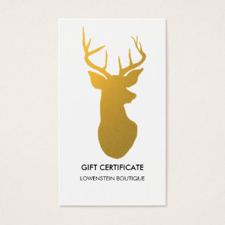Modern Gold Elegant Reindeer Gift Certificate