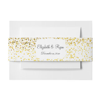 Modern Gold, Faux Confetti, Glitter Invitation Belly Band