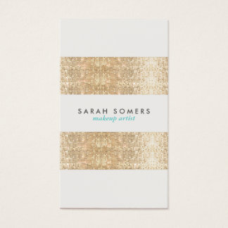 Modern Gold Faux Sparkly Sequins Makeup Artist Business Card