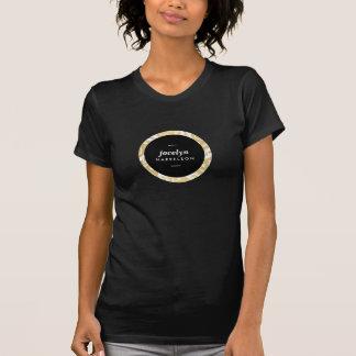 Modern Gold Flowers Black Circle T-shirt
