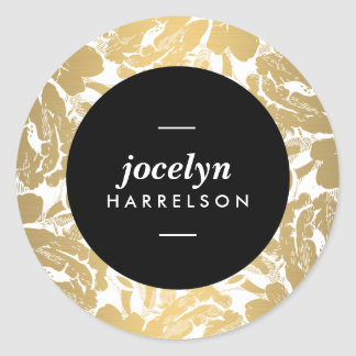 Modern Gold Flowers Personalized Stickers