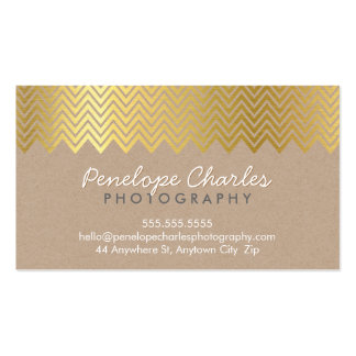 MODERN gold foil chevron pattern on natural kraft Double-Sided Standard Business Cards (Pack Of 100)