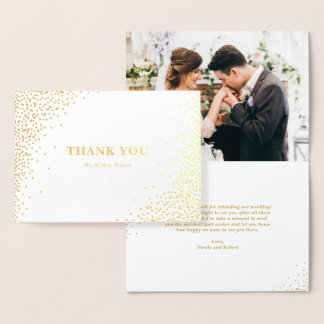 Modern Gold Foil Confetti Dots Wedding Thank You I Foil Card