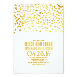 Modern Gold Foil Confetti Rehearsal Dinner Card