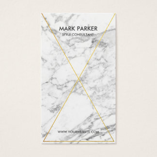 Modern Gold Foil Line Art with Grey White Marble Business Card