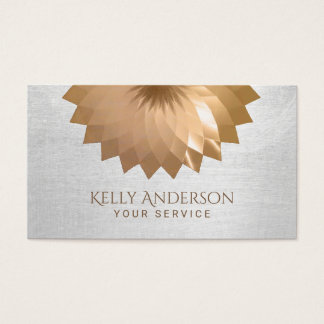 Modern Gold Foil Lotus Elegant Silver Texture