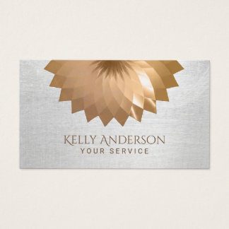 Modern Gold Foil Lotus Elegant Silver Texture Business Card