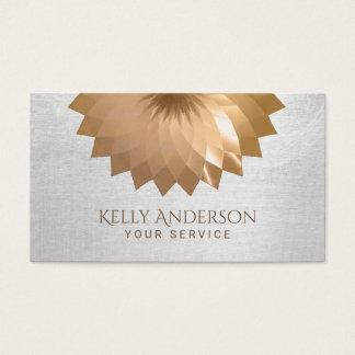 Modern Gold Foil Lotus Elegant Silver Texture Business Card