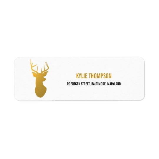 Modern Gold Foil Reindeer Christmas Holiday Return Address Label