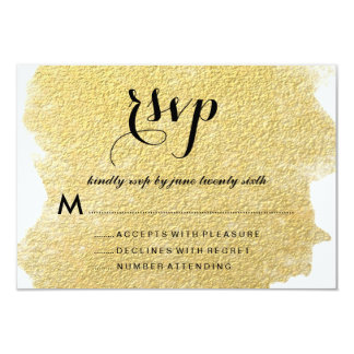 "MODERN GOLD FOIL RESPONSE CARDS 3.5"" X 5"" INVITATION CARD"