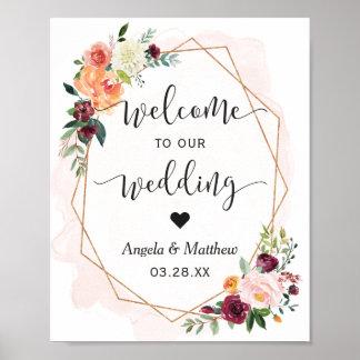 Modern Gold Frame Floral Wedding Welcome Sign