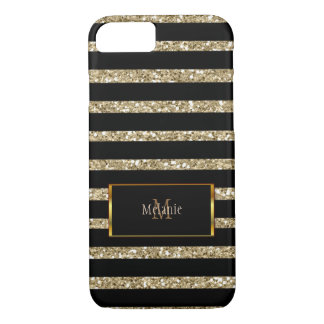 Modern gold glitter black stripes monogram name iPhone 8/7 case