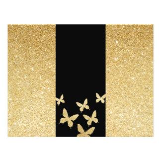 Modern Gold Glitter Butterflies Trifold Brochure 21.5 Cm X 28 Cm Flyer