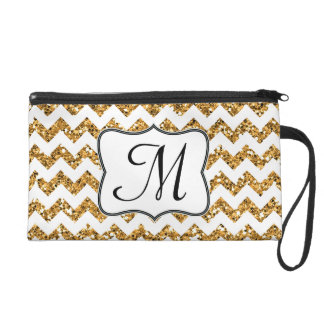 Modern Gold Glitter Chevron Make Up Bag Tote Purse Wristlet