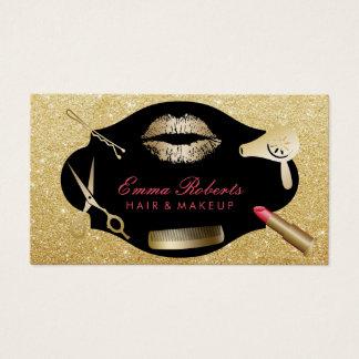 Modern Gold Glitter Makeup Artist Hair Salon Business Card