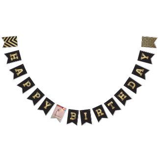 Modern Gold Glitter Photo & Happy Birthday Banner