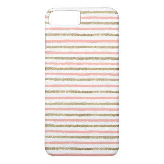 Modern Gold Glitter Pink Stripe iPhone 7 PLUS Case