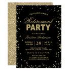 Modern Gold Glitter Sparkles Retirement Party Card