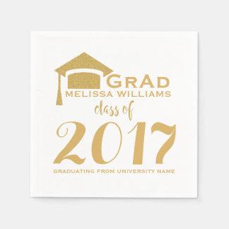 Modern Gold Glitter & White Class Of 2017 Paper Napkin