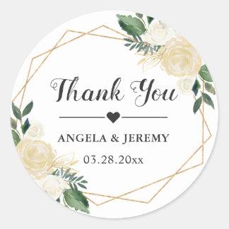 Modern Gold Green Floral Wedding Favor Thank You Classic Round Sticker