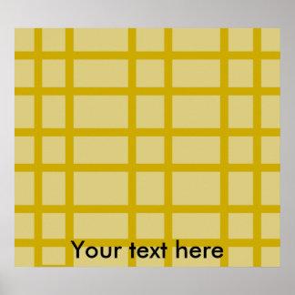 Modern gold grid pattern poster