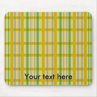 Modern gold grid pattern with silver green stripes mouse pad
