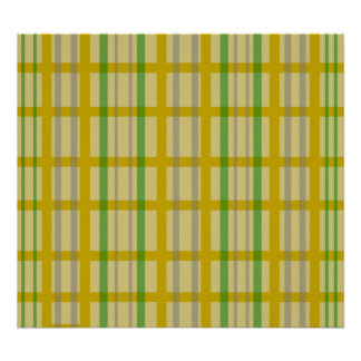 Modern gold grid pattern with silver green stripes poster
