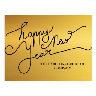 Modern Gold Happy New Year Typography Corporate Postcard