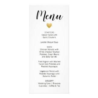 Modern Gold Heart Wedding Menu Card | Black Stripe