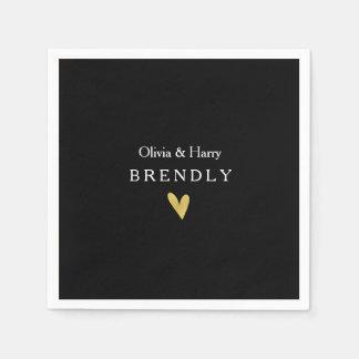Modern Gold Heart Wedding Paper Napkins - Black