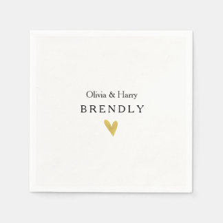 Modern Gold Heart Wedding Paper Napkins Disposable Serviette