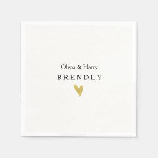 Modern Gold Heart Wedding Paper Napkins Disposable Serviette