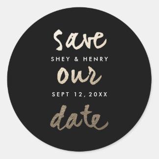 Modern Gold Leaf | Save the date sticker