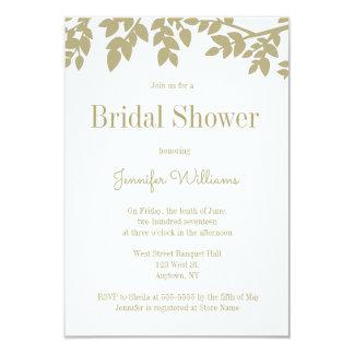 Modern gold leaves bridal shower invitations