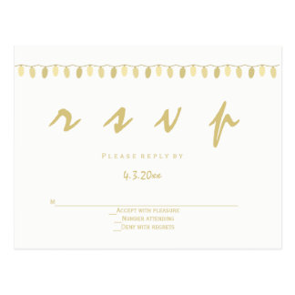 Modern gold lights wedding rsvp postcards