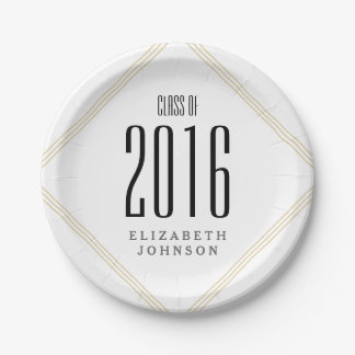 Modern Gold Lines, Personalized Graduation Paper Plate