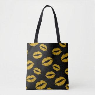 Modern Gold Lips Kisses Lipstick Tote Bag