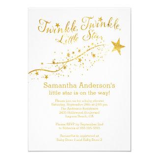 Modern Gold Little Star Baby Shower Invitation