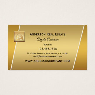 Modern Gold Logo Professional Realtor Businesscard Business Card