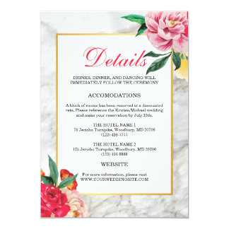 Modern gold marble Floral Peony Wedding Details Card