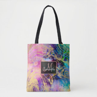 Modern gold marble on pastel watercolor nebula tote bag