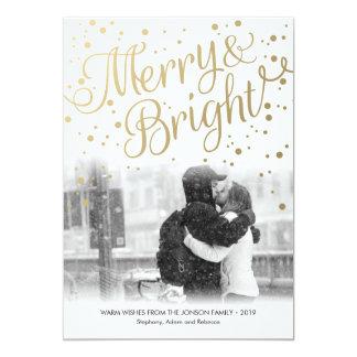 Modern Gold Merry Bright Custom Photo Card 13 Cm X 18 Cm Invitation Card