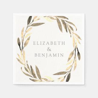 Modern Gold Olive Leaf Wreath Garden Wedding Paper Napkin