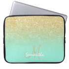 Modern gold ombre mint green block personalised laptop sleeve