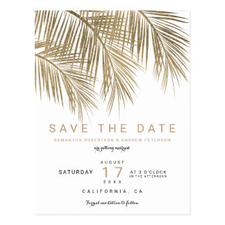 Modern gold palm tree elegant save the date postcard