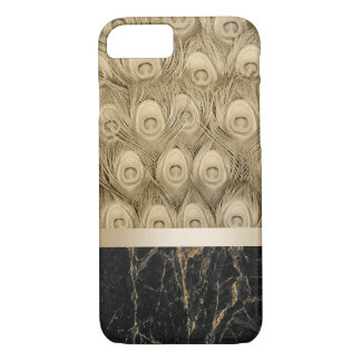 Modern Gold Peacock Feather Black Marble with Name iPhone 8/7 Case